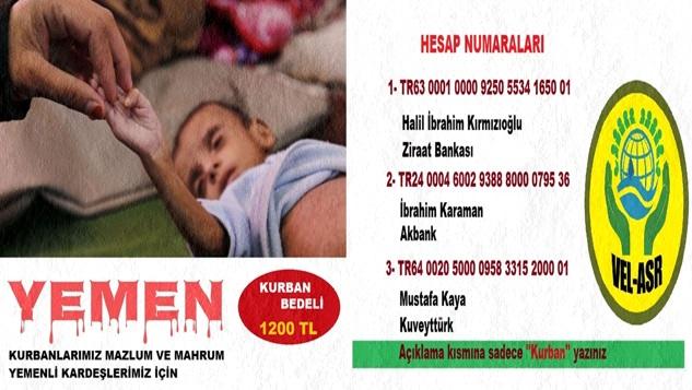 Vel-Asr İnsani Yardımlaşma Platformu'ndan Yemen için kurban kampanyası